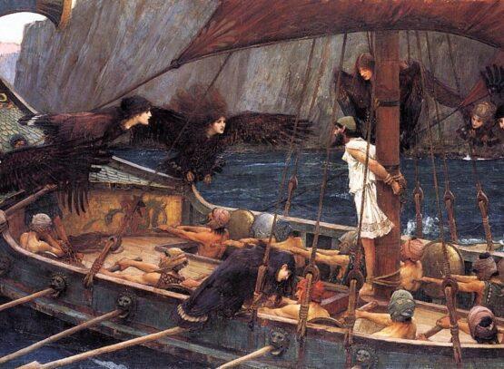 quadro che rappresenta ulisse che si fa legare all'albero maestro della nave per resistere al canto delle sirene