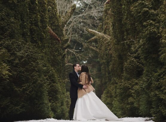 gorgeous wedding couple posing in winter snowy park