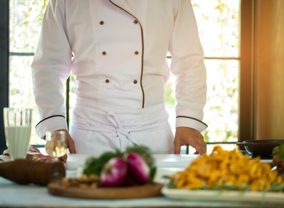 Man in uniform of chef